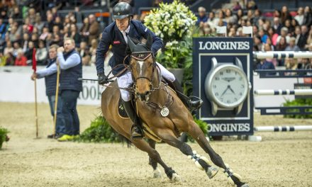 Belgium's Olivier Philippaerts takes second ahead of Britain's Michael Whitaker in third; 11-horse jump-off is a real thriller